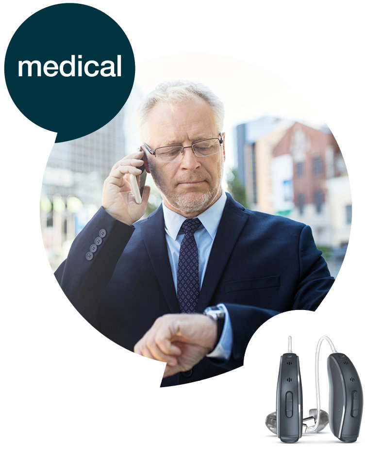 earcon medical Logo mit visualisiertem Schaubild.